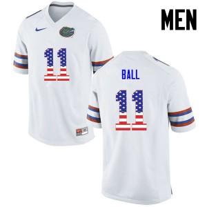 Men Florida Gators #11 Neiron Ball College Football USA Flag Fashion White 614117-877