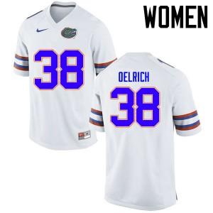 Women Florida Gators #38 Nick Oelrich College Football Jerseys White 711513-728
