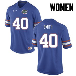 Women Florida Gators #40 Nick Smith College Football Blue 376814-129