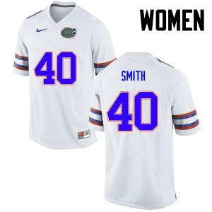 Women Florida Gators #40 Nick Smith College Football White 246900-923