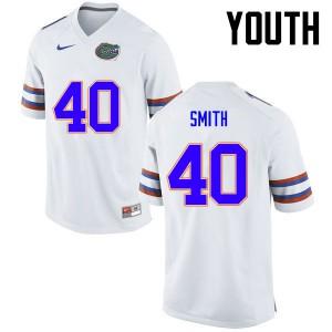 Youth Florida Gators #40 Nick Smith College Football White 987933-845