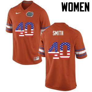 Women Florida Gators #40 Nick Smith College Football USA Flag Fashion Orange 551610-581