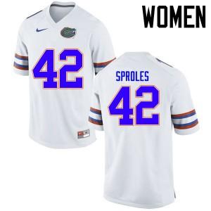Women Florida Gators #42 Nick Sproles College Football Jerseys White 891796-823