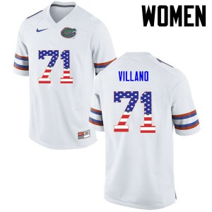 Women Florida Gators #71 Nick Villano College Football USA Flag Fashion White 311952-937