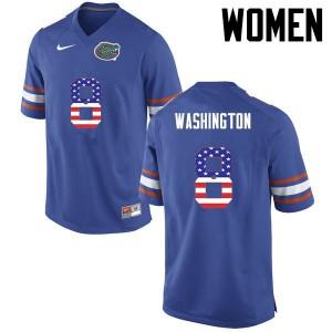 Women Florida Gators #8 Nick Washington College Football USA Flag Fashion Blue 861820-597