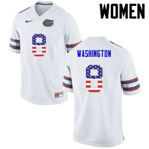 Women Florida Gators #8 Nick Washington College Football USA Flag Fashion White 427891-237