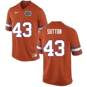 Men #43 Nicolas Sutton Florida Gators College Football Jerseys Orange 368105-827