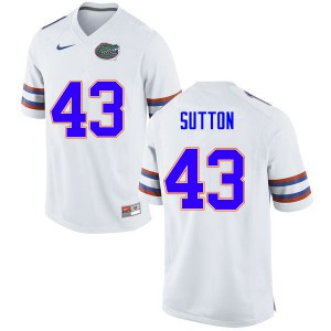 Men #43 Nicolas Sutton Florida Gators College Football Jerseys White 470156-496