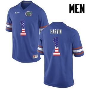 Men Florida Gators #1 Percy Harvin College Football USA Flag Fashion Blue 219070-168