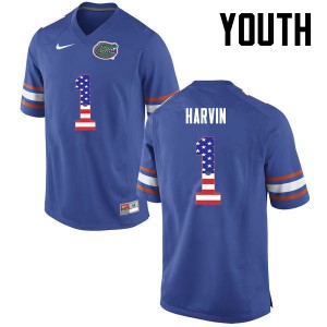 Youth Florida Gators #1 Percy Harvin College Football USA Flag Fashion Blue 943596-259