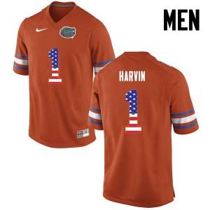 Men Florida Gators #1 Percy Harvin College Football USA Flag Fashion Orange 329995-508