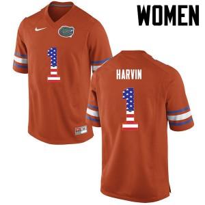 Women Florida Gators #1 Percy Harvin College Football USA Flag Fashion Orange 886152-907