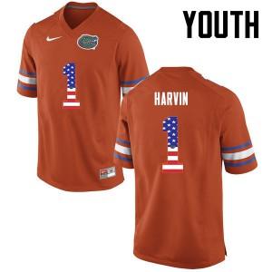 Youth Florida Gators #1 Percy Harvin College Football USA Flag Fashion Orange 987995-287