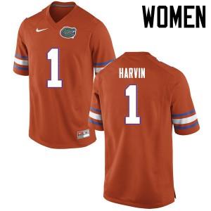 Women Florida Gators #1 Percy Harvin College Football Jerseys Orange 318571-265