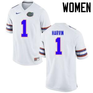 Women Florida Gators #1 Percy Harvin College Football Jerseys White 240646-949