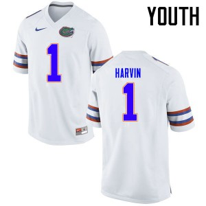 Youth Florida Gators #1 Percy Harvin College Football Jerseys White 198908-974