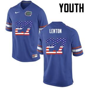 Youth Florida Gators #27 Quincy Lenton College Football USA Flag Fashion Blue 200988-914