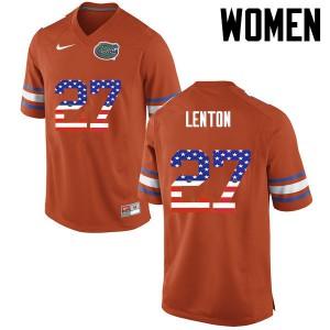 Women Florida Gators #27 Quincy Lenton College Football USA Flag Fashion Orange 800835-752