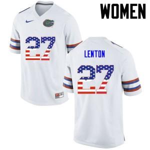 Women Florida Gators #27 Quincy Lenton College Football USA Flag Fashion White 952567-937