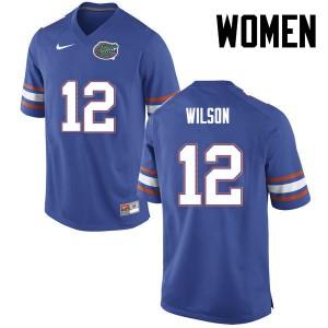 Women Florida Gators #12 Quincy Wilson College Football Blue 396924-617