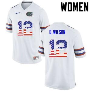 Women Florida Gators #12 Quincy Wilson College Football USA Flag Fashion White 990149-371