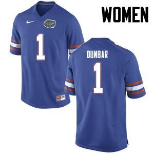 Women Florida Gators #1 Quinton Dunbar College Football Blue 684465-212