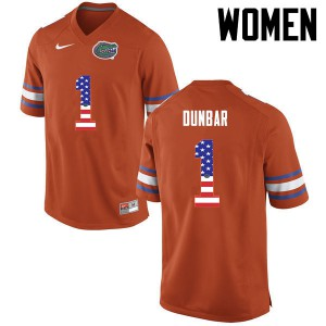 Women Florida Gators #1 Quinton Dunbar College Football USA Flag Fashion Orange 960227-141