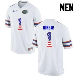 Men Florida Gators #1 Quinton Dunbar College Football USA Flag Fashion White 752795-680