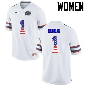 Women Florida Gators #1 Quinton Dunbar College Football USA Flag Fashion White 434307-857