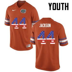 Youth Florida Gators #44 Rayshad Jackson College Football USA Flag Fashion Orange 390016-447