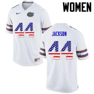 Women Florida Gators #44 Rayshad Jackson College Football USA Flag Fashion White 557873-638