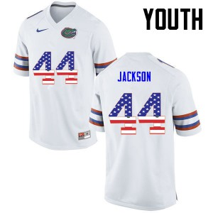 Youth Florida Gators #44 Rayshad Jackson College Football USA Flag Fashion White 931744-420