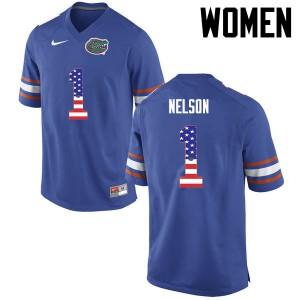 Women Florida Gators #1 Reggie Nelson College Football USA Flag Fashion Blue 290681-755