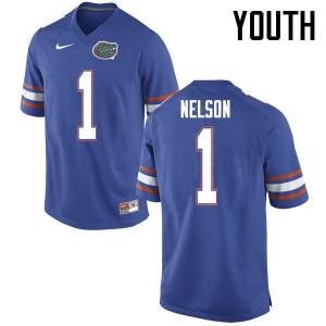 Youth Florida Gators #1 Reggie Nelson College Football Jerseys Blue 144364-299
