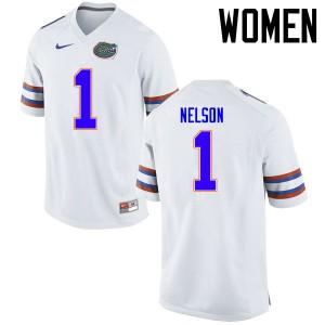 Women Florida Gators #1 Reggie Nelson College Football Jerseys White 350650-660