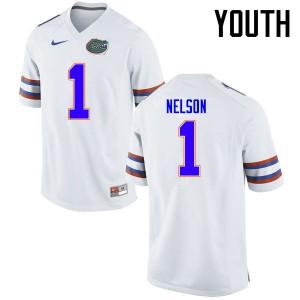 Youth Florida Gators #1 Reggie Nelson College Football Jerseys White 723670-815