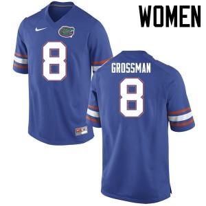Women Florida Gators #8 Rex Grossman College Football Jerseys Blue 348241-369