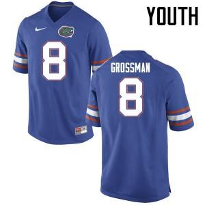 Youth Florida Gators #8 Rex Grossman College Football Jerseys Blue 359187-404