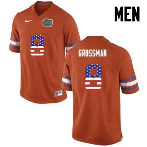 Men Florida Gators #8 Rex Grossman College Football USA Flag Fashion Orange 971764-522