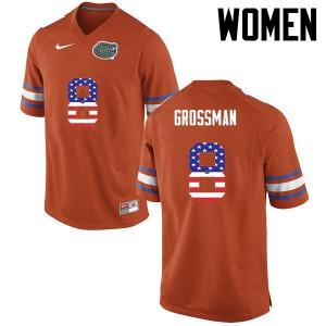 Women Florida Gators #8 Rex Grossman College Football USA Flag Fashion Orange 881980-524