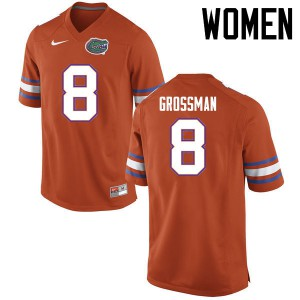 Women Florida Gators #8 Rex Grossman College Football Jerseys Orange 146028-401