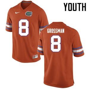 Youth Florida Gators #8 Rex Grossman College Football Jerseys Orange 642162-832