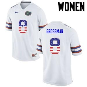 Women Florida Gators #8 Rex Grossman College Football USA Flag Fashion White 144795-704