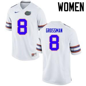 Women Florida Gators #8 Rex Grossman College Football Jerseys White 254123-446