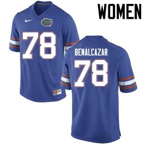 Women Florida Gators #78 Ricardo Benalcazar College Football Jerseys Blue 381148-588