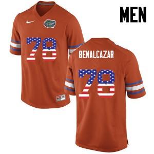 Men Florida Gators #78 Ricardo Benalcazar College Football USA Flag Fashion Orange 893095-436