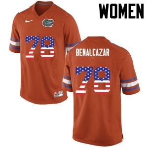 Women Florida Gators #78 Ricardo Benalcazar College Football USA Flag Fashion Orange 738156-882