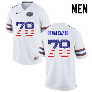 Men Florida Gators #78 Ricardo Benalcazar College Football USA Flag Fashion White 800640-264