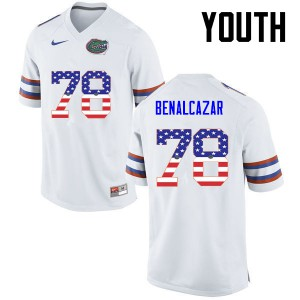 Youth Florida Gators #78 Ricardo Benalcazar College Football USA Flag Fashion White 116058-649