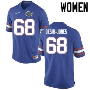 Women Florida Gators #68 Richerd Desir Jones College Football Jerseys Blue 311686-428